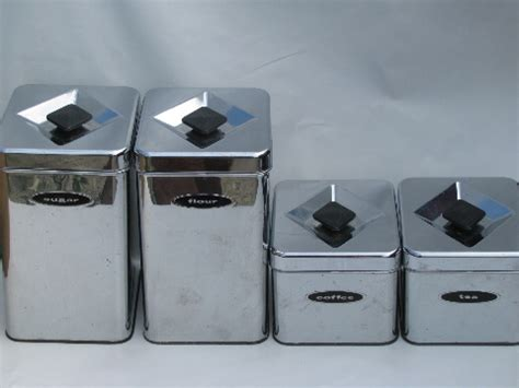 vintage metal kitchen canister sets 50s 60s vintage kitchen canisters mod silver chrome canister set
