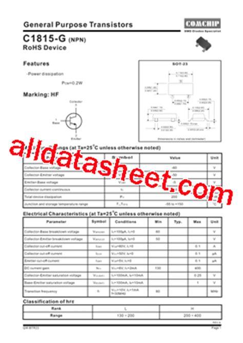 transistor c1815 equivalente transistor c1815 pdf 28 images c1815 262692 pdf datasheet c1815 silicon npn epitaxial