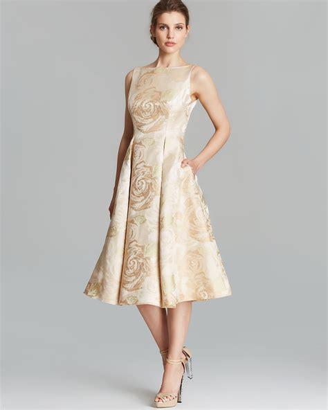 Bigsize Midi Flare Skirt Berkualitas papell dress sleeveless brocade tea length