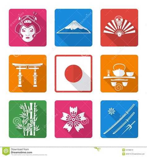 flat white color white solid flat style japan icons set stock vector