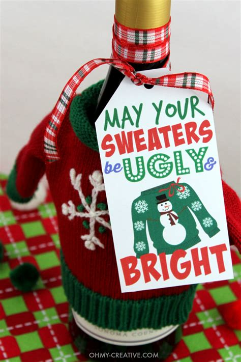 free ugly sweater printables sweater gift tag printable oh my creative