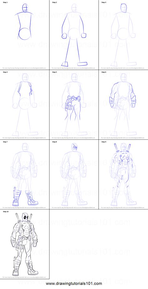 tutorial html simple how to draw deadpool superhero full body step by step