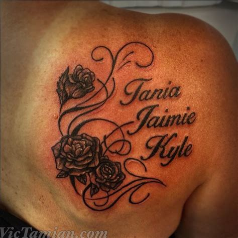 flower tattoo with child s name 55 cool kids shoulder tattoos