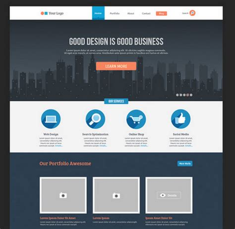 flat psd template 100 best free psd website templates of 2014 noupe