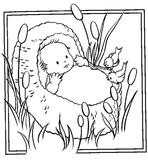Baby Moses Basket Coloring Page baby moses bible coloring pages coloring part 2