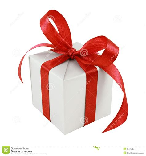 silver gift wrapped present with red satin bow stock photo