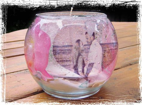 gel candle with photograph wedding date inside great