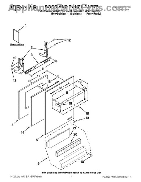 jenn air dishwasher parts diagram parts for jenn air jdb3600awp5 door and panel parts
