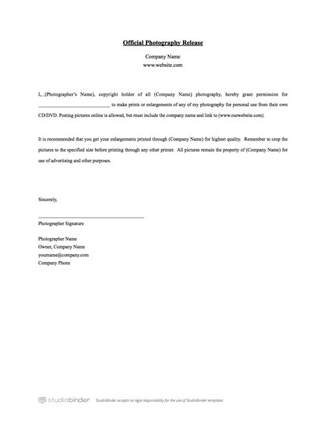 Copyright Release Letter Photography Template doc 600730 photo copyright release forms sle