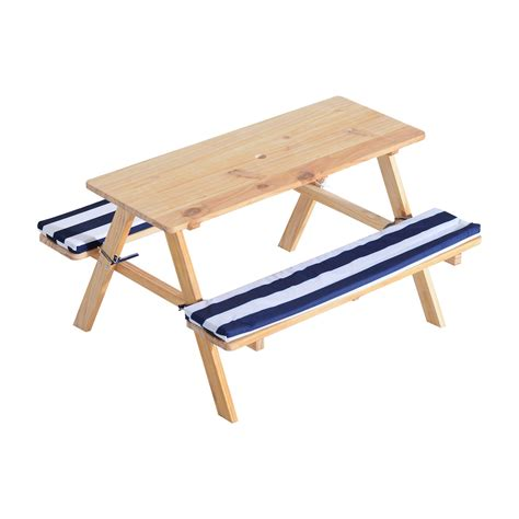 kids benches qaba wooden outdoor kids picnic table with padded benches