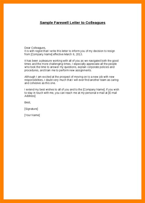 Farewell Resignation Letter by 7 Resignation Mail To Colleagues Cfo Cover Letter