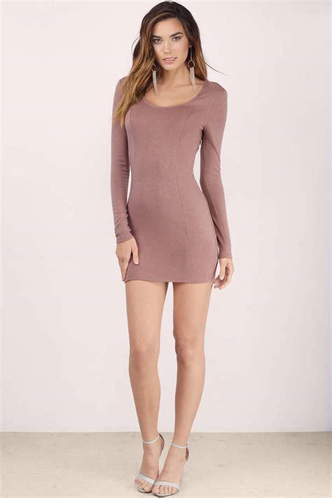 Mauve Bodycon Dress - trendy mauve bodycon dress backless dress bodycon