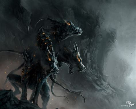 mythical creature restrained bound dragon cerberus the hellhound of hades mythical realm