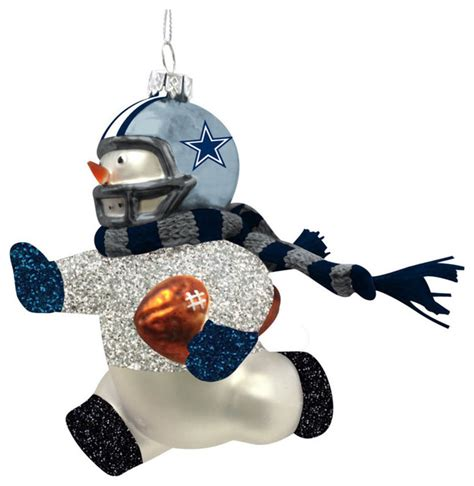 dallas cowboys glass snowman player christmas ornament