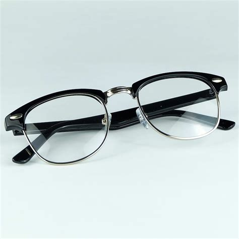 Club Tin Glasses retail cheap optical glasses quality half plastic and metal joint frame gift eyewear