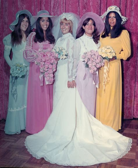 1970s bridesmaids made a splash with long sleeves & big hats   CatholicMatch Institute