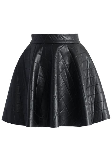 quilted faux leather mini skater skirt in black retro