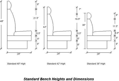 typical bench depth standard bench heights dimensions banquettes seating
