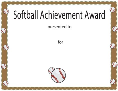 free softball certificate templates softball achievement award certificate