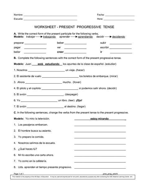 pattern meaning in spanish spanish worksheets printables present progressive