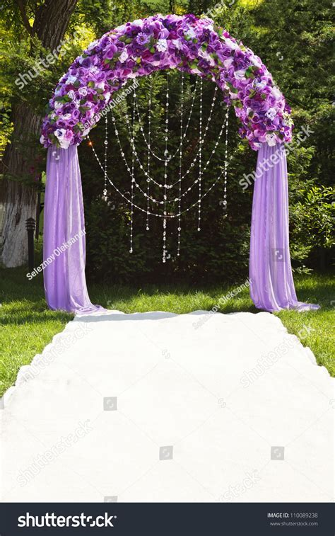 Wedding Arch Purple Roses Stock Photo 110089238   Shutterstock