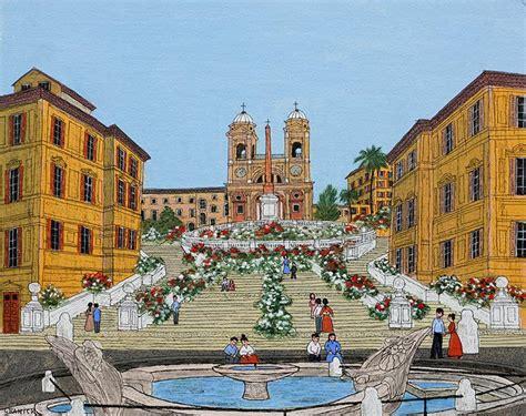 Granick   Rome La Place d'Espagne   Peinture naïve
