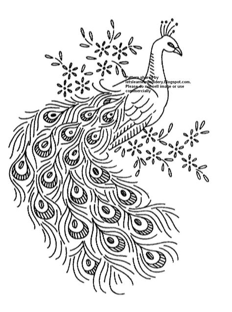 black and white embroidery patterns let s learn embroidery free peacock pattern 1