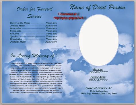 Download Free Funeral Program Template For Australia In Microsoft Word Funeral Program Free Editable Obituary Template