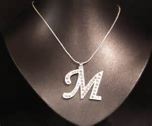initial letter m necklace costume jewellery aladins