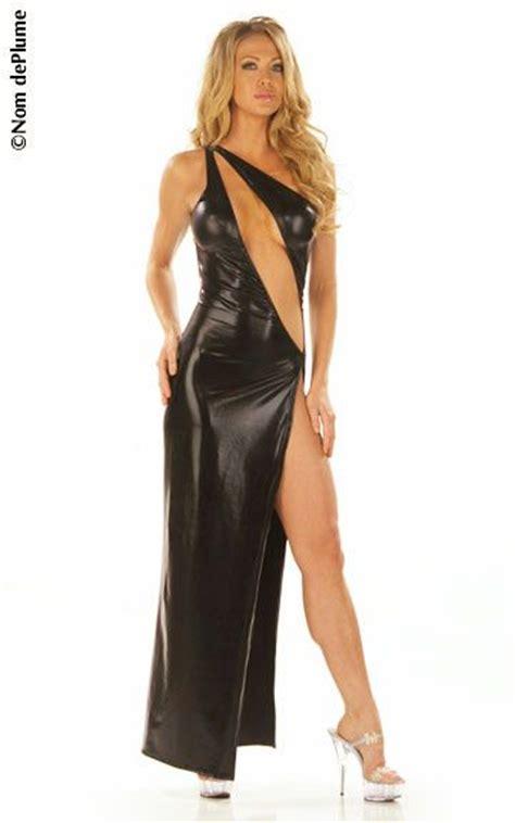 Dress Striper shiny lame gown