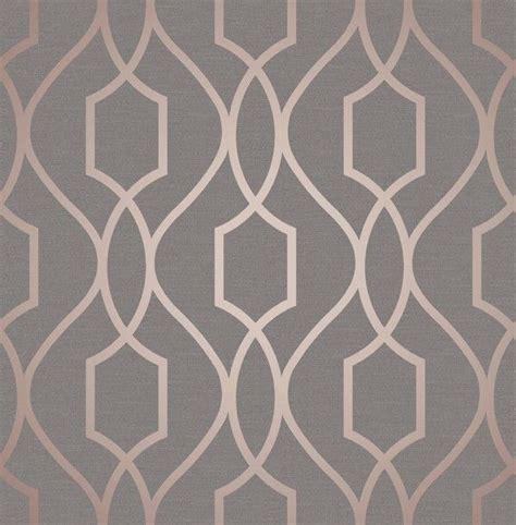 fine decor apex geo rose gold grey wallpaper fd