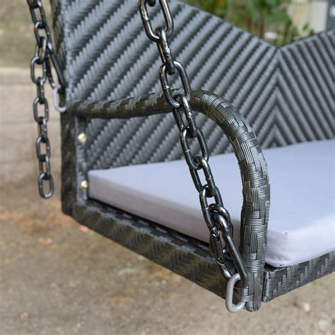 porch hangers black 52 quot patio porch swing chair bench resin wicker tree