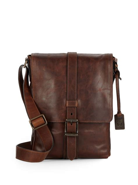 Visval Messenger Bags Brown frye logan small leather messenger bag in brown for lyst