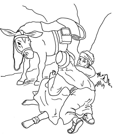 printable coloring pages of the samaritan helping coloring sheet coloring pages