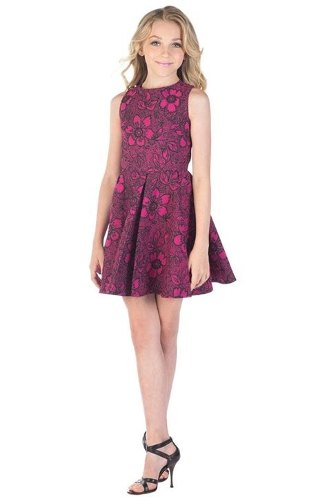 7 For Tweens by Burgundy Burn Out Skater Dress Miss Behave Tween