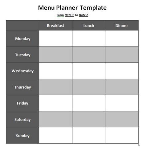 weekly lunch menu template 7 best images of printable lunch menu template school