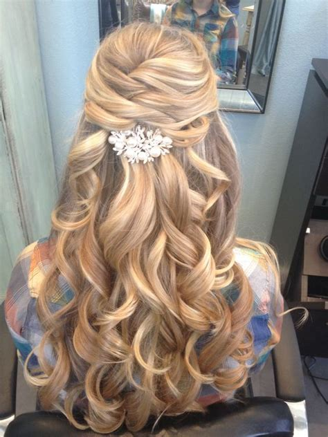 Wedding Hair Accessories For Half Up by Half Up Half Wavy Wedding Hairstyle With Hair