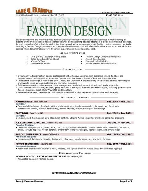 Resume Sle For Design Student Fashion Resume Templates Learnhowtoloseweight Net