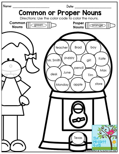identifying common and proper nouns grammar activity