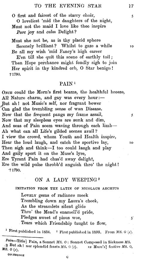 Letter Seventeen Lyrics The Project Gutenberg Ebook Of The Complete Poetical Works Of Samuel Coleridge 1 And 2