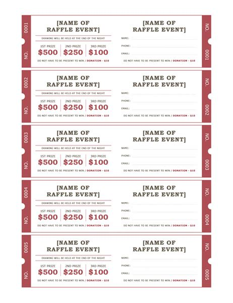 raffle card template raffle tickets