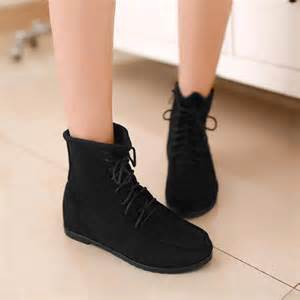 Comfortable Wedding Flats Lace Up Boots Flat Heel Qu Heel