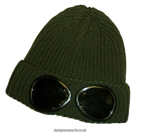 with goggles cp company green wool beanie hat with goggles hats from designerwear2u uk