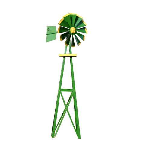 decorative windmills for homes small green and yellow powder coated backyard windmill