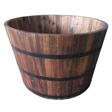 Barrel Planter Lowes by Shop Garden Treasures 25 98 In X 16 93 In Carbonize Wood