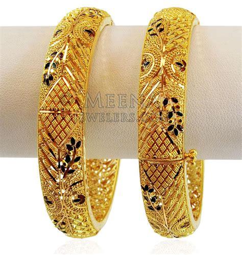 pattern of gold kada 22k meenakri gold kada 1pc baka17332 22k gold kadas