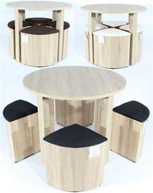 Round dining table with 4 chairs set stools oak space