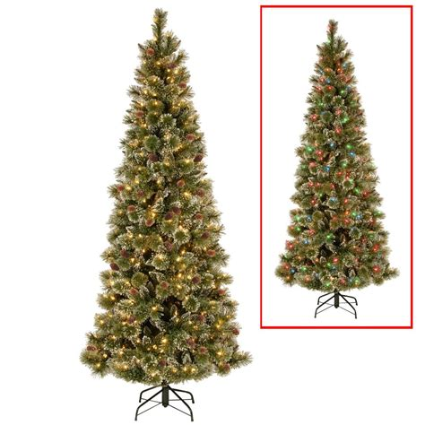 how many feet lights for 8 ft christmas tree national tree company 6 5 ft powerconnect glittering pine artificial slim tree with