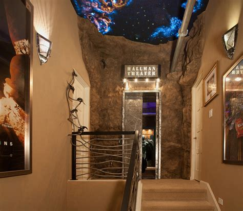 batman cave home theater entry eclectic home theater