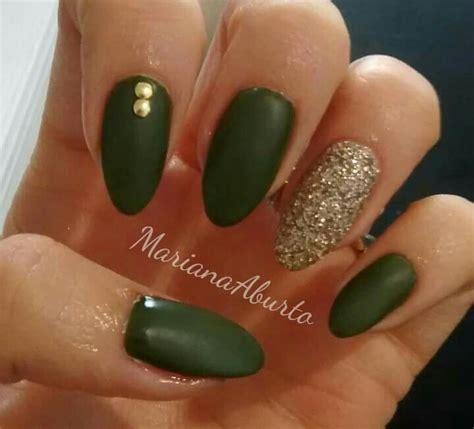 green military nails gold glitter nails pinterest